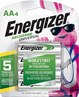 Energizer Rechargeable AA Batteries, NiMH, 2000 mAh, Pre-Charged, 4 count (Recharge Universal) - Packaging May Vary