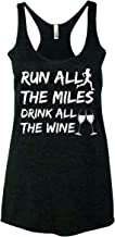 Freedomtees Run All The Miles Drink All The Wine Funny Cross Training Workout Gym Running Women's Tank Top - Black New