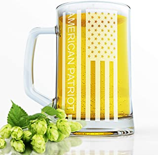 B.Brown Original American Flag Beer Mug Pint Glass Pilsner Glass Great As A Beer Gift Etched Beer Mug Beer Gfts Beer Mug Beer Mugs Beer Glass Tankard (Glossy Glass)