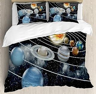 Juego de Funda nórdica Galaxy 3 PCS, Sistema Solar Los Ocho Planetas y The Sun Plutón Júpiter Marte Venus Ciencia ficción, Juego de Cama Colcha para niños/Adolescentes/Adultos/niños, Negro Gris