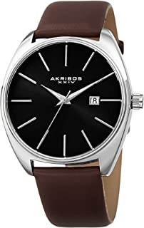 Akribos XXIV Men's Sunray Dial Watch - Tonneau Shaped with Date Window On Genuine Leather Strap - AK945