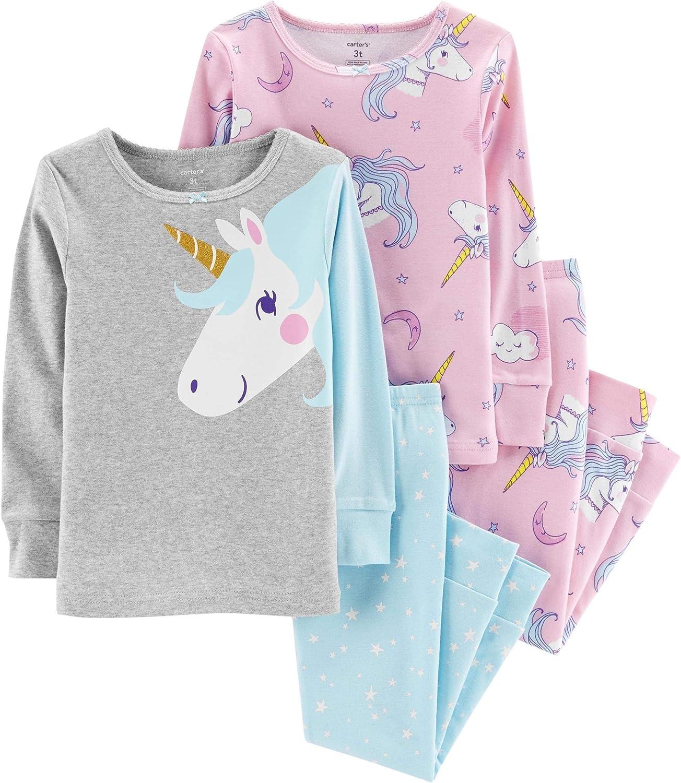 Carter's Girl's 4-Piece Snug Fit Cotton PJ Set, Unicorn, 6 Months
