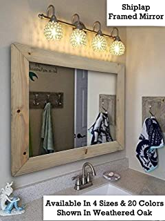 Shiplap Large Wood Framed Mirror Available in 4 Sizes and 20 Colors: Shown in Weathered Oak - Large Wall Mirror - Rustic Barnwood Style - Bathroom Vanity Mirror - Decor for Bathroom