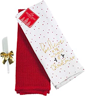 Holiday Christmas Kitchen Dish Towels Set: One Herringbone Believe in The Magic of Christmas Polka Dot Towel and One Solid Red Waffle Towel (Believe)