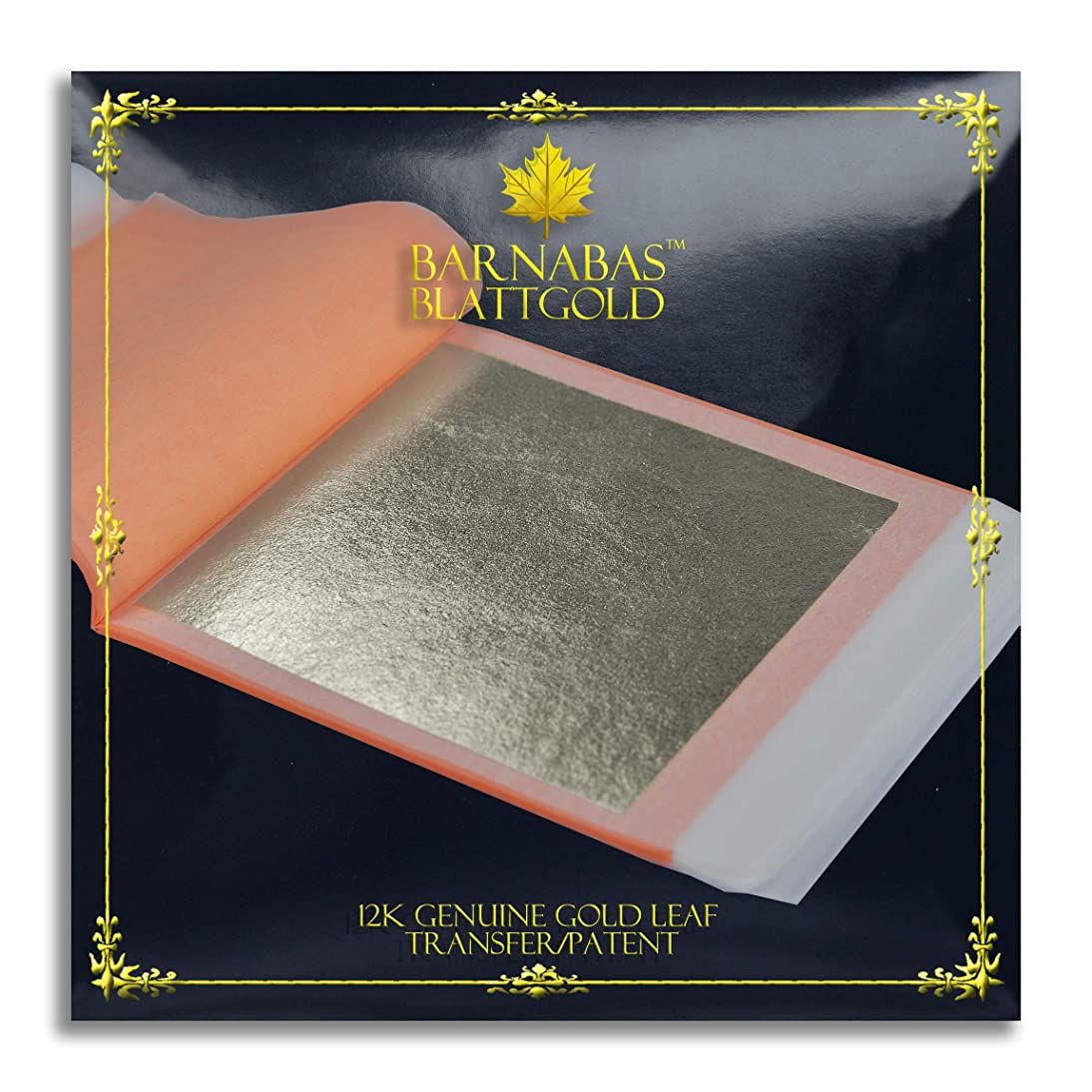 Genuine Gold Leaf Sheets 12k - by Barnabas Blattgold - 3.4 inches - 25 Sheets Booklet - Transfer Patent Leaf