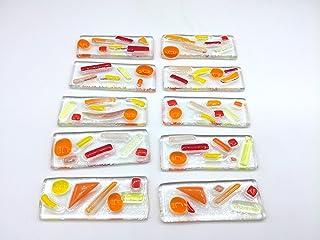 lot de 10 porte couteaux très colorés - orange- jaune - rouge - verre fusionné - réalisation artisanale - art de la table...
