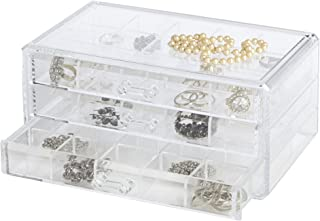 Richards Homewares Clearly Chic Stackable 3 Drawer Organizer with Dividers