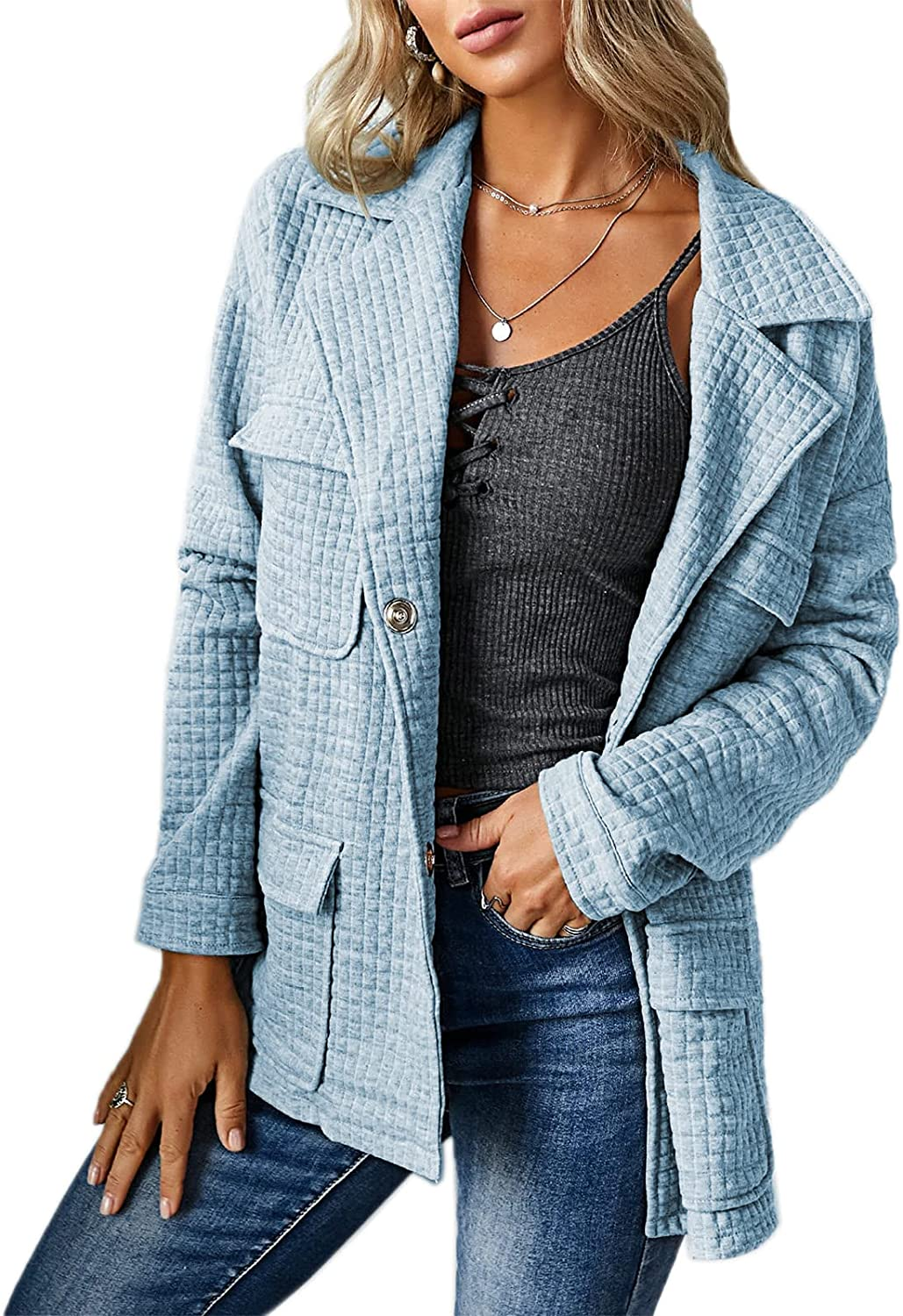 Womens Lightweight Quilted Jacket Snap Button Wrap Coat Casual Collared Warm Outwear with Pockets