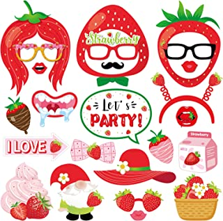 Strawberry Photo Booth Props Kit - 25Pcs Sweet Berry Party Selfie Props with Sticks for Kids,Girls,Strawberry Party Suppli...