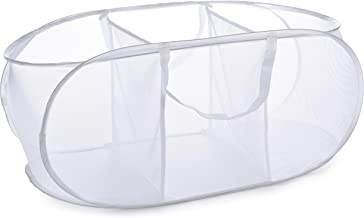 Popup Laundry Basket, Three Compartments - Durable Mesh Material, Folds for Storage, Easy Carry Handles. Folding Pop-Up La...