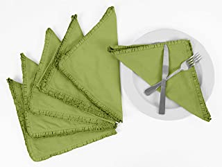 Vargottam Light Green Home Décor Washable Dining Table Frill Napkins Set-Pack of 6