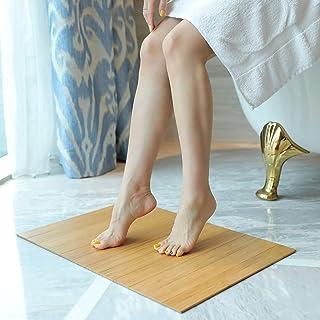 MYBAMBOO Alfombra de baño de bambú antideslizante, repelente al agua para baño, alfombra de baño de madera natural con tira multipanel plegable enrollable y antideslizante para uso en interiores