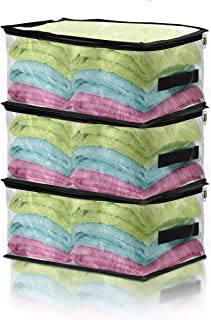 COVERS & ALL Lot de 3 Sacs de Rangement Transparents avec poignée et Double Fermeture éclair pour Couette, couvertures, li...