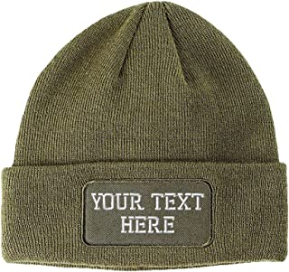 Personalize Your Custom Text On Unisex Adult Acrylic Double Layer Patch  Beanie 16b963b00397