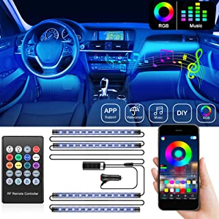 DAYFULI Interior Car Lights, Car Interior LED Strip Lights with Remote and APP Controller, 2 in 1 Line Design 4 PCS 48 LED Car Lighting Kits, 16 Million Colors, 7 Scene Modes, Car Charger, DC 12V