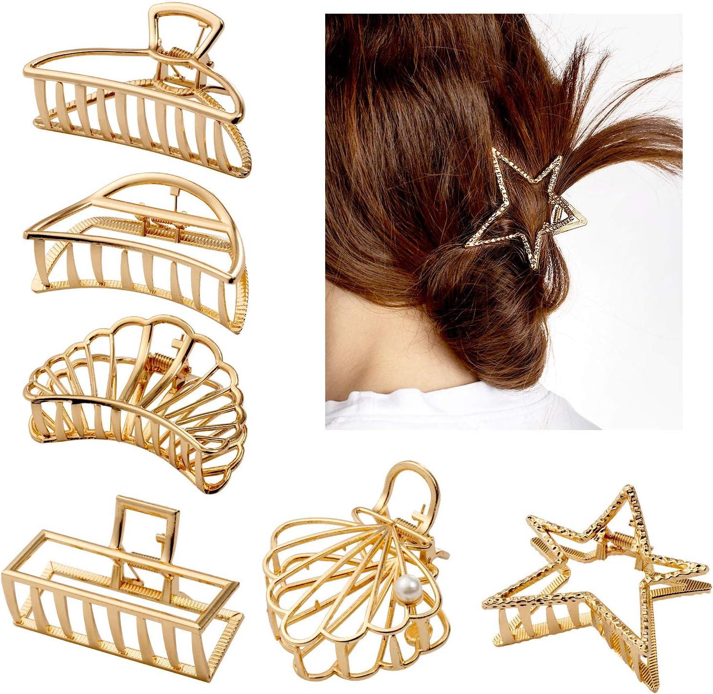 Comius Sharp 6pcs Clips de Pelo de Garra de Metal, Grandes Antideslizantes para Mujeres Niñas Hebillas de Pelo para Sujetar Pelo