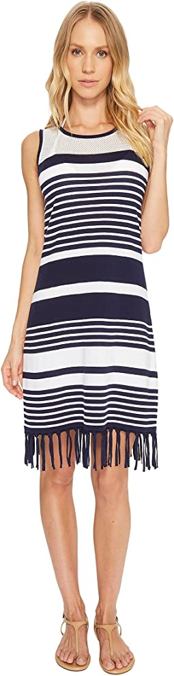 Stripe Fringe Sweater Dress Cover-Up