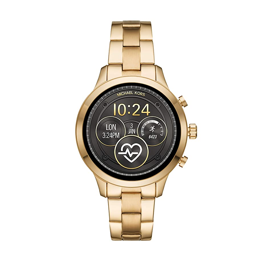 Michael Kors Women's Access Runway Stainless Steel Plated Touchscreen Watch with Strap, Goldtone, 18 (Model: MKT5045)