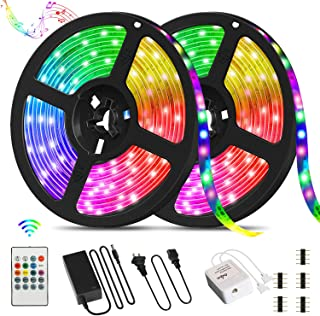 Homiar LED Strip Lights, 32.8ft SMD5050 300LEDs RGB Strip Lights, Music Sync Color Changing Lights with Remote Controller and 12V Power Supply, Flexible Tape Lights for Home, Bedroom, TV