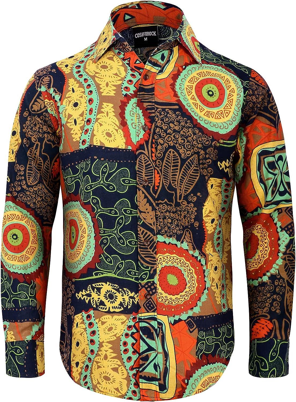 COSAVOROCK Camisa Hippie años 70 para Hombre Manga Larga Camisas Flores Funky Casual Estampadas