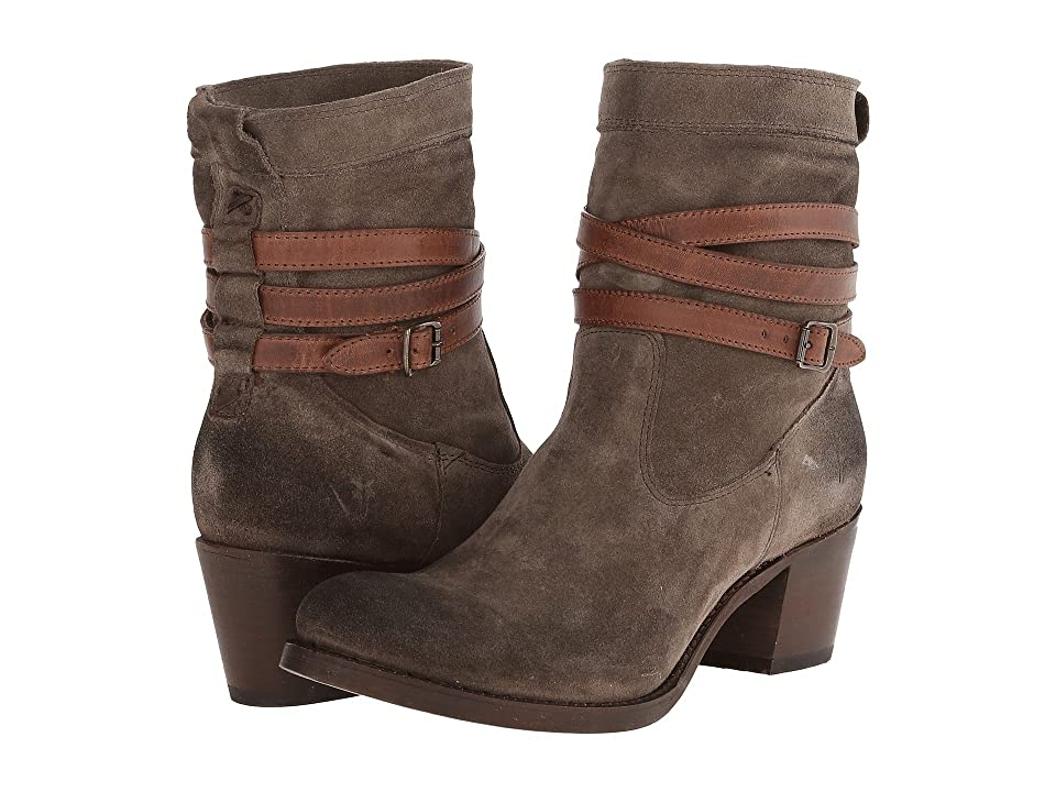 Frye Jane Strappy Short (Fatigue Suede/Veg Tan) Cowboy Boots