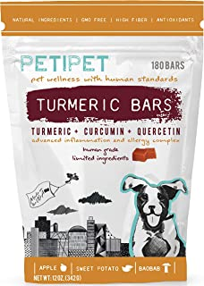 PETIPET Itching Allergy Inflammation Relief Supplement for Dogs - Organic Turmeric, Curcumin, Quercetin Herbal Soft Chews ...