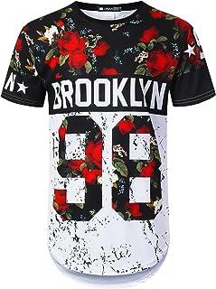 URBANTOPS Mens Hipster Hip Hop Floral Graphic Longline T-Shirt (Various Styles)