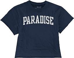 Paradise Raw Edge Slub Slightly Cropped Tee (Big Kids)