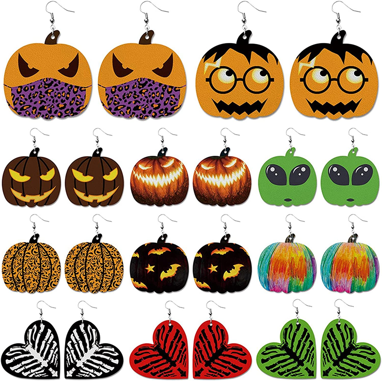Halloween Earrings Faux Leather Drop Earrings Lightweight Pumpkin Skull Skeleton Print Dangle Earrings for Women Girl Halloween Costumes Party Accessories