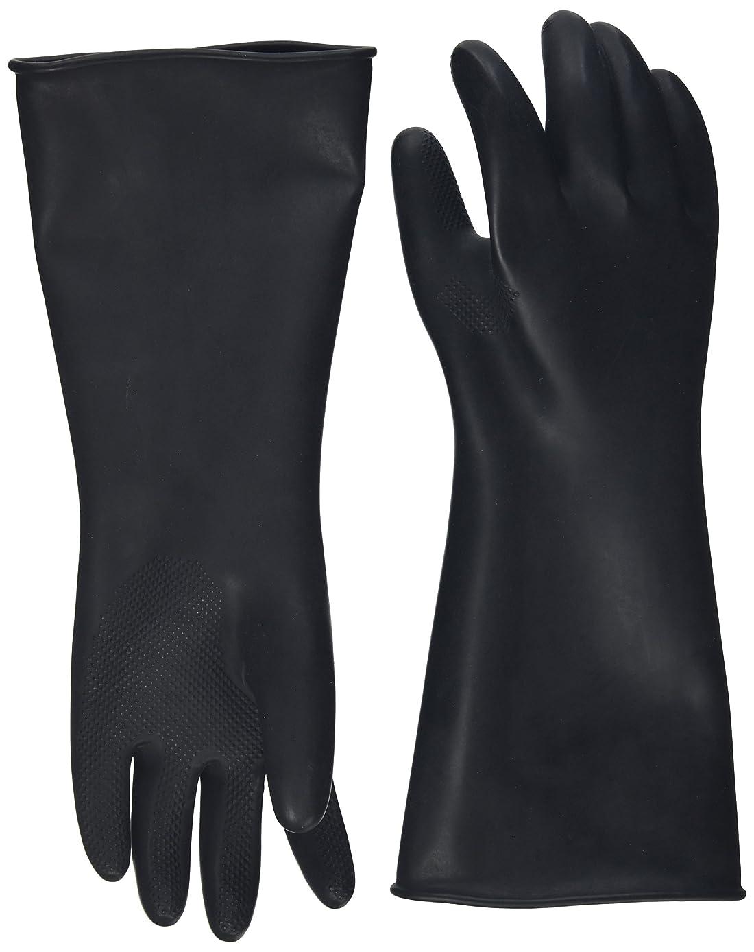 キロメートル染料過言ハナキゴム 工業用手袋ハナローブ No.436 滑り止め付き曲指型 ブラック