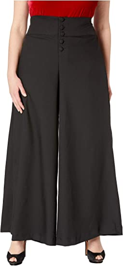 Plus Size 1940s Style High-Waist Rosie Wide Leg Pants