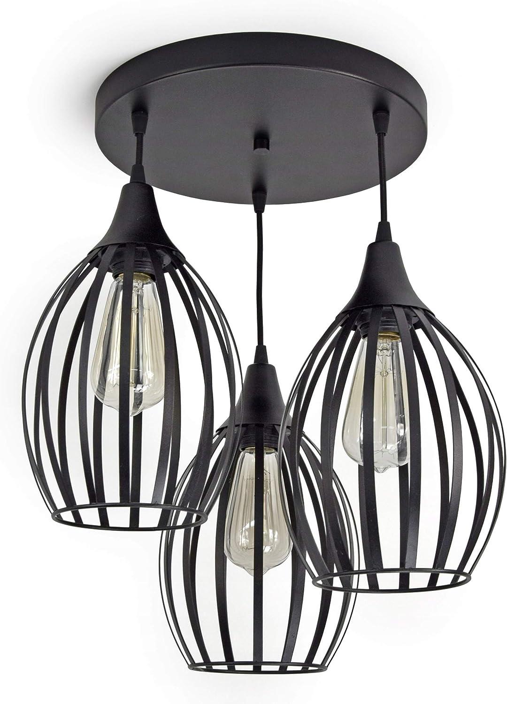 FKL Deckenleuchte Pendellampe Innen-Beleuchtung Hngelampe Wandlampe Designer Lampe Leuchte Modern Schwarz Brillant viele Varianten 730 (Deckenlampe 730-E3)