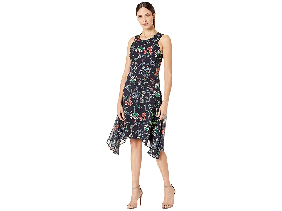 Tommy Hilfiger Garden Chiffon High-Low Dress (Sky Captian/Grenadine) Women
