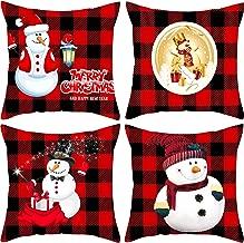 4 Pieces Christmas Red Black Buffalo Plaid Throw Pillow Case 18 x 18 Inches Home Couch Cotton Linen Pillowcase Snowman Decorative Pillow Cases Cushion Covers Cute Christmas Snowman Decorations