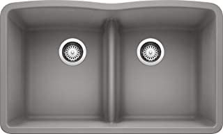 BLANCO 442077 Diamond Equal Double Low Divide-Metallic Gray Sink, Bowl