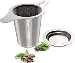 IPOW Upgraded FDA Approved 18/8 Stainless Steel Tea and Coffee Infuser Fine Mesh Filters Tea Strainer Steeper Double Handl...