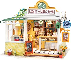 Rolife DIY Miniature Dollhouse Kit Craft Kit for Adults to Build Tiny Things Gift for Birthday Christmas(Light Music Bar)