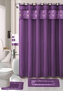 AHF/WPM Beverly Purple Flower 18-Piece Bathroom Set: 2-Rugs/mats, 1-Fabric Shower Curtain, 12-Fabric Covered Rings, 3-pc. Decorative Towel Set