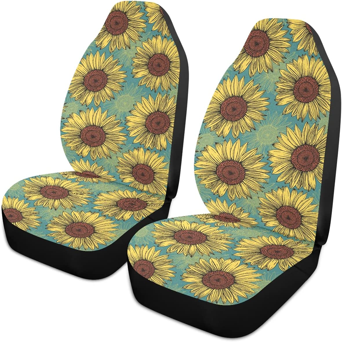 Oarencol Sunflower Car Seat 2021new shipping free Covers Over item handling Vintage Uni Blue Teal Florals