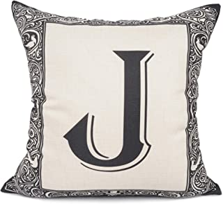 YOUR SMILE English Alphabet Letter Throw Pillow Case Modern Cushion Cover Square Pillowcase Decoration for Sofa Bed Chair Car 17 x 17 Inch (J)