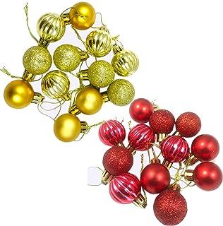 Evisha Small 24 pcs Red and Golden Balls Christmas Tree Decoration Ornaments
