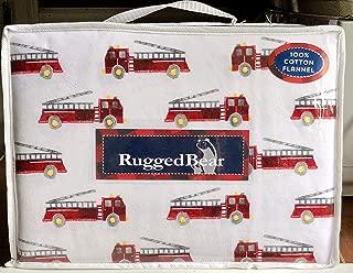 Rugged Bear FIRE Engine Cotton Flannel Sheet Set - Full Size (All Cotton Flannel) FIRE Truck