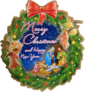 Merry Christmas and Happy New Year Nativity Scene Wreath Hanging Wall Plague, 12 Inches