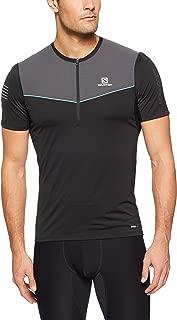 SALOMON Men's Fast Wing Half-Zip Short-Sleeved Running T-Shirt, Black/Forged Iron