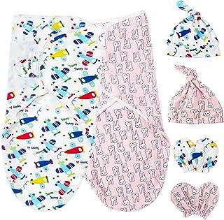 HBselect 2 set pucktrasor baby pucksäck Mutze handskar set 100 % bomull för spädbarn nyfödda i upp till 6 månader (flygpla...