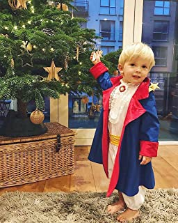 Little Prince's Costume - Blue Cloak With Red Lining, White Shirt With Jabot, Brooch And Lace, White Pants, Yellow Belt - Size 0-3 Years
