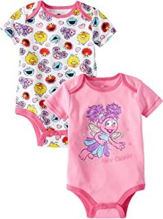 Sesame Street Abby Cadabby Fairy Themed Infant Bodysuit 2-Pack Pink White Tee-Shirts