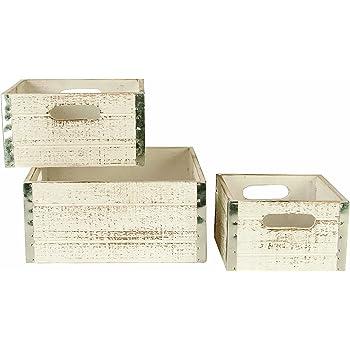 Wald Imports Whitewash Wood Decorative Crates, Set of 3