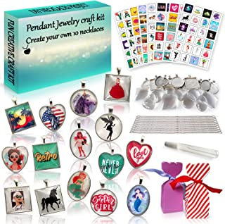 2Pepers DIY Pendant Jewelry Making Kit (10-in-1), Arts and Crafts for Girls, Make Your Own Pendant Necklace Craft Kit Project, Custom Necklace Activity Set Crafts for Kids, Charm Gifts for Girls