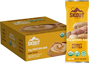 SKOUT Organic Plant-Based Protein Bars Peanut Butter (12 Pack) – 10g Protein – Vegan Protein Bars Made in US – Only 4 Ingr...
